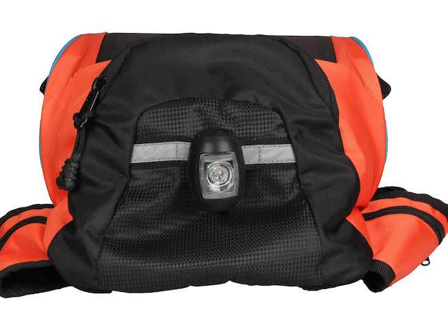 Thrillseeker Solar Hydration bag  Orange Bottom view with cycle light