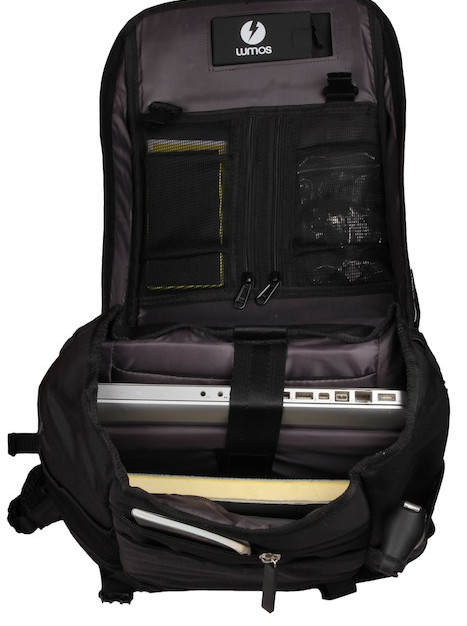 Unplug Solar Backpack Black open